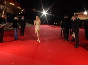 Socialite Paris Hilton wearing gold Cavali dress posing for press on red carpet at World Music Awards, Earls Court; 16 November 2006